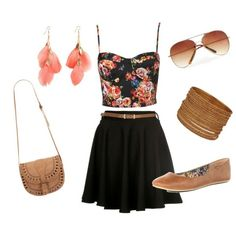 Summer Outfit. How cute. Always trying to find good ways to combine brown and black.