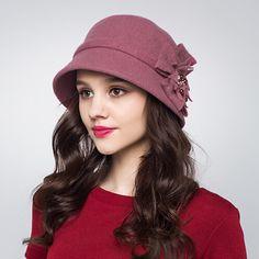Elegant flower bowler cloche hat for women winter wool bucket hats