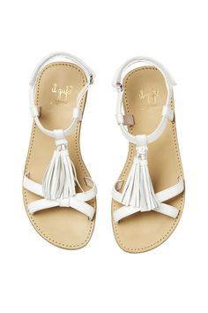 SANDALS WITH WHITE TASSELS - girl 2-14 | Il Gufo