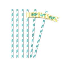 Classic Carnival Birthday Yellow and Blue Straw Flags