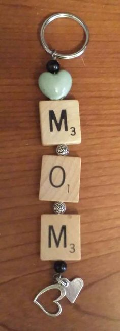 Mom Heart Keychain - Recycled Scrabble Tiles Key Chain  #Unbranded