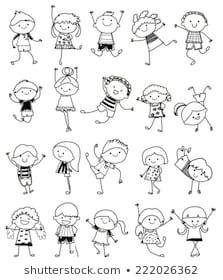 Drawing Sketch - Group Of Kids Royalty Free Cliparts, Vectors, And Stock Illustration. Image Drawing Sketch - Group Of Kids Royalty Free Cliparts, Vectors, And Stock Illustration. Doodle Art Drawing, Drawing For Kids, Drawing Sketches, Art For Kids, Art Children, Children Drawing, Sketching For Kids, Drawing Drawing, Drawing Clipart