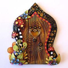 Wild Mushroom Fairy Door Pixie Portal by Claybykim on Etsy