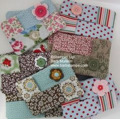 Kleenex tissue holders for your purse using Stampin' Up! fabric. FREE tutorial www.barbstamps.com