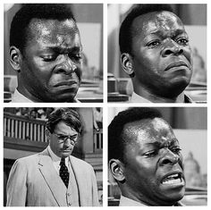 To Kill a Mockingbird: Brock Peters started to cry while shooting the testifying scene, without rehearsing it this way, and Gregory Peck said that he had to look past him, instead of looking him in the eye, without choking up himself.