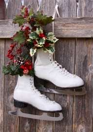 image search results for decorating with ice skates winter christmas christmas wreaths vintage christmas - Ice Skate Christmas Decoration