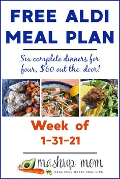 Free ALDI Meal Plan week of 1/31/21 - 2/6/21: Six complete dinners for four, $60 out the door! Save time and money with meal planning, and find new free ALDI meal plans every week. This week, we are making everything from Tuscan style chicken soup, to lemony pork chops & potatoes -- and so much more. Meal Planning Board, Aldi Meal Plan, Pork Chops And Potatoes, Real Food Recipes, Healthy Recipes, White Bean Soup, Frugal Meals, Meal Planner, Best Diets