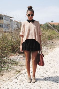 Collar dress under extra large sweater