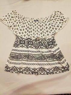 5caa6d7ee10692 Joe Boxer XL off shoulder ruffle top black white shirt geometric paisley  style Black And White