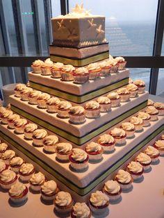 Wedding Cup Cake / Wedding Cake with Sea Shell Designs