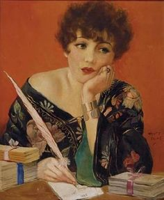 Woman writing letter at desk (c.1940s). Henry Clive(Australian, 1882-1960). While Clive did portraits of Ziegfeld Follies girls and film ac...