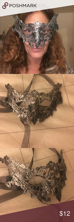 Mask - halloween, mardi gras, cosplay Made of plastic on a 3d printer.  Black with silver glitter Other