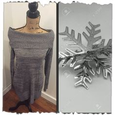 ❤️Donating soon❤️Sweater dress Make offer!! Black, white, grey, silver sweater dress by AB studio. Neck line could be worn several ways. There are loops for a belt if you prefer to wear a belt. Great leggings dress! Size medium AB Studio Dresses