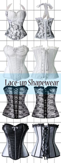 white corsets, fashion corsets, fashion shapewear, everyday corsets, black corsets, lace up corsets, halter corsets