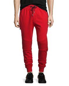 Moto-Style Jogger Sweatpants, Red, Men's, Size: 2/S - Bon Vivan