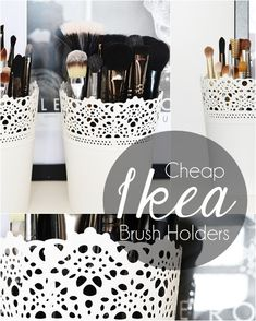 Mini Ikea plant pot as make up brush holder. Perfect on my dressing table! I love ikea.