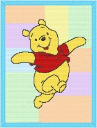 Pooh Bear Quilt Afghan Blanket Graph Crochet Pattern