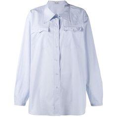 Miu Miu Miu Miu Micro Check Shirt ($425) ❤ liked on Polyvore featuring tops, blue, oversized shirt, extra long sleeve shirts, over sized shirts, miu miu shirt and blue long sleeve top