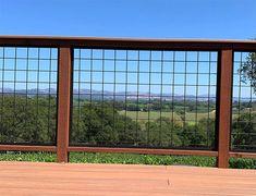 Porch Railing Kits, Deck Railing Design, Patio Railing, Deck Design, Modern Fence Design, Front Porch Addition, Cattle Panels, Craftsman Exterior, House Deck