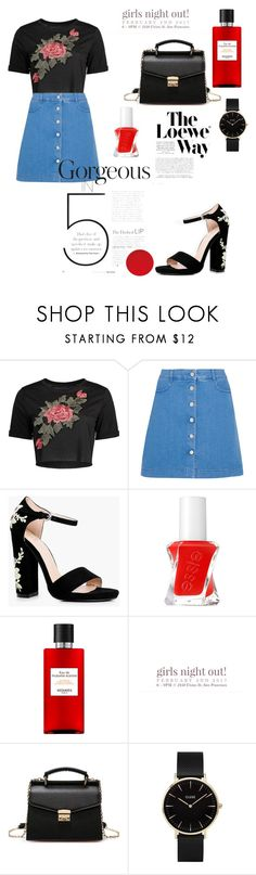 """""""A tint of red❤️🥀"""" by aicha-13 ❤ liked on Polyvore featuring STELLA McCARTNEY, Boohoo, Essie, Hermès, CLUSE and Loewe"""