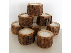 Rustic Wood Tea Light Holders (8 ct) | Green Bride Guide