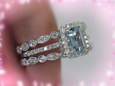 3 Ring Set 5x7mm Emerald Aquamarine Ring 14K White by LoveGemArts $849.00