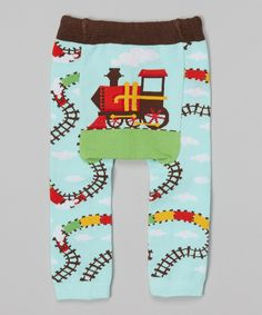 Look what I found on #zulily! Blue & Green Train Leggings - Infant by Doodle Pants #zulilyfinds