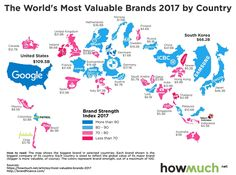 Наиболее дорогие бренды в 2017 году. Стоимость бренда соответствует размеру страны.