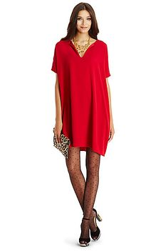 DVF Kora Tunic Dress in Lacquer Red