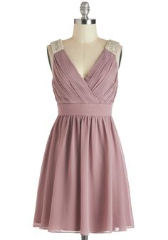 A Mauve-elous Occasion Dress - Purple, Silver, Solid, Beads, Pleats, Wedding, Party, Empire, Sleeveless, Short, V Neck, Pastel