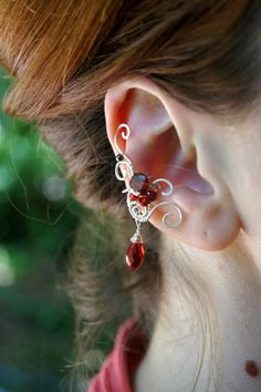 Romantic Elven earcuff, fantasy decoration for ear, simple ear cuff by RomanticElfJewelry on Etsy