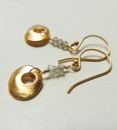Mykonos Gold Drop Earrings with Faceted Labradorite by Flow Designs Summer Fashion