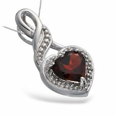 1 CT Garnet Heart Pendant In Sterling Silver with 18