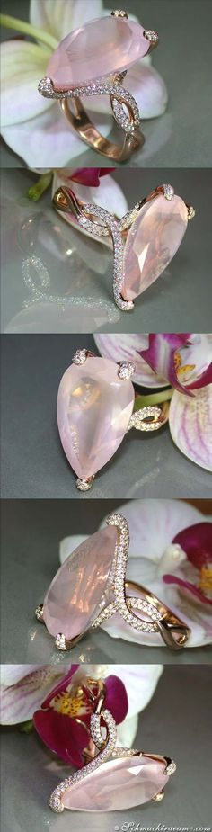 Rosequartz Diamond Ring, 16.83 ct. RG18K - Visit: schmucktraeume.com Like: https://www.facebook.com/pages/Noble-Juwelen/150871984924926 Mail: info@schmucktraeume.com