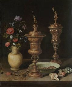 'Bodegón con flores, copas doradas, monedas y conchas', Clara Peeters (1612) (Karlsruhe, Staatliche Kunsthalle)