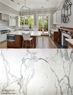 This stunning kitchen design combines modern and classic design elements.  What better way to seamlessly blend these elements than with timeless Calacatta marble? The Calacatta marble is featured in the countertops, backsplash and fireplace cladding.