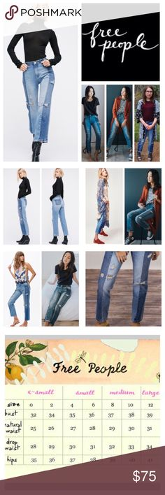 """Free People Patchwork High Waist Crop Jeans.  NWT. Free People Patchwork High Waist Crop Jeans, 100% cotton, machine washable, 31"""" waist, 11.5"""" front rise, 15"""" back rise, 27"""" inseam, 14"""" leg opening, contrast washed panels, frayed and shredded holes accentuate the well-worn feel, ankle gazing length, ragged patchwork jeans, vintage-inspired, cropped hem keep the slouchy style current, mixed denim piecing with all over distressed detailing, five pockets, zip fly button closure, belt loops…"""