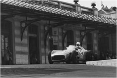 "frenchcurious: ""Stirling Moss (Mercedes W196) Grand Prix de Monaco 1955 - BROOOOM.com. """