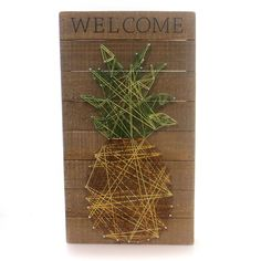 Amazon.com: Welcome - Pineapple String Art Plank Board Box Sign - 18-in: Kitchen & Dining