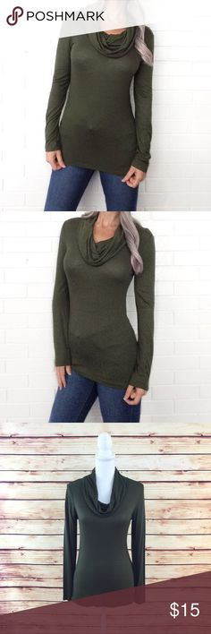 """Bundle 6 for $25• NWOT Olive Cowl Neck Top 🔹BUNDLE any 👉🏻 6 items for $25! 🔹Like 6 items 🔹Add the items to a bundle 🔹Make bundle offer for $25!  ▫️Brand: Heart & Hips ▫️Size: M ▫️Material: Rayon/Polyester  ▫Condition: NWOT ▫️Flaws: None  ▫️Description:  •Cowl neck  •Long sleeves •Slim fit w stretch   ▫️Measurements Laying Flat: •Chest: 15.5"""" •Length: 24""""  ▪️NO Trade/Hold ▪️Next Day Shipping ▪️Smoke Free/Kitty Friendly Home Boutique Tops Blouses"""
