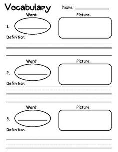 This vocabulary graphic organizer has a place for the vocabulary word, definition, and a pictorial representation.I hope your kiddos enjoy using this vocabulary graphic organizer! Vocabulary Instruction, Teaching Vocabulary, Vocabulary Worksheets, Vocabulary Words, Teaching Reading, Vocabulary Journal, Vocabulary Ideas, Vocabulary Graphic Organizer, Graphic Organizers