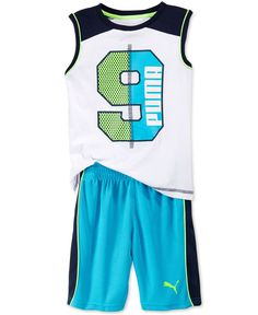 Puma Little Boys' Tank & Shorts Set Baby Boy Outfits, Kids Outfits, Toddler Boys, Baby Kids, Summer Suits, Sport Wear, Boys T Shirts, Kids Wear, Little Boys