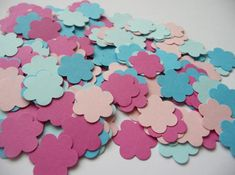 Paper flowers blue and pink 200 die cut flowers, baby shower confetti, scrapbooking, wedding confetti, party confetti, baby shower favors Cut Flowers, Paper Flowers, Paper Confetti, Wedding Confetti, Baby Shower Favors, Die Cutting, Unique Jewelry, Handmade Gifts, Pink