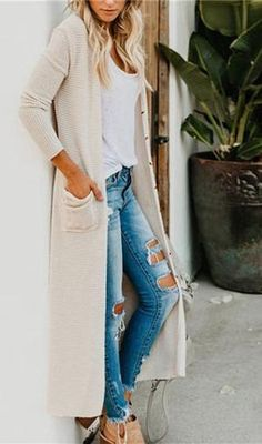Long Sweater Outfits, Cute Casual Outfits, Long Sweaters, Stylish Outfits, Fashion Outfits, Womens Fashion, Long Cardigan Outfit Summer, Modest Fashion, Fall Fashion