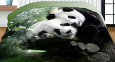 obojstranné prehozy zelenej farby s motívom pánd - domtextilu. Panda Bear, Animals, 3d, Animales, Animaux, Panda, Animal, Animais, Pandas