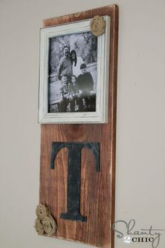 1x12 wood letter and a picture - Shanty Chic