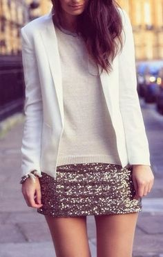 Super cute office fall outfits blazer, sweater and skirt