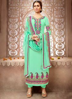 Turquoise Embroidery Work Georgette Chiffon Designer Fancy Long Churidar Suit Churidar Suits, Salwar Kameez, Designer Suits Online, Sea Green Color, Work Party, Street Style Looks, Business Fashion, Indian Dresses, Party Wear