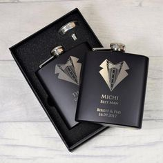 Gift Boxed Engraved 6oz Stainless Steel Hip Flask with Solid Pewter Dad Feature Dad