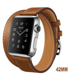 Apple Watch Band, WAPAG Double Tour Genuine Leather, Sport Style Replacement Band Wrist Bracelet Strap for Apple iWatch (Light Brown 42mm)